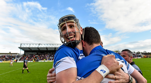 Waterford's Maurice Shanahan celebrates after their league semi-final win over Tipp, a victory that put the county back amongst the elite, according to Colm Bonnar
