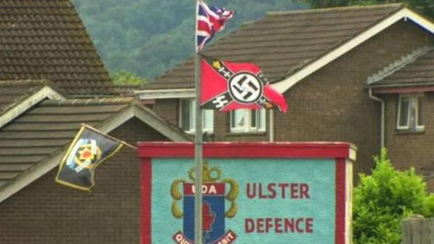 Nazi and paramilitary flags have appeared near a loyalist bonfire in Carrickfergus Pic: Belfast Telegraph