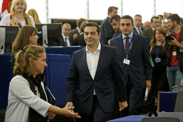 Greek Prime Minister Alexis Tsipras arrives to address the European Parliament in Strasbourg, France, July 8, 2015. Euro zone members have given Greece until the end of the week to come up with a proposal for sweeping reforms in return for loans that will keep the country from crashing out of Europe's currency bloc and into economic ruin. REUTERS/Vincent Kessler