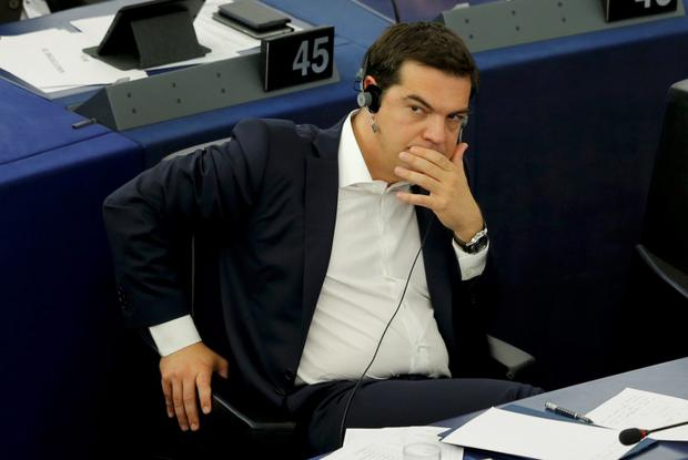 Greek Prime Minister Alexis Tsipras attends a debate on Greece at the European Parliament in Strasbourg, France, July 8, 2015. Euro zone members have given Greece until the end of the week to come up with a proposal for sweeping reforms in return for loans that will keep the country from crashing out of Europe's currency bloc and into economic ruin. REUTERS/Vincent Kessler