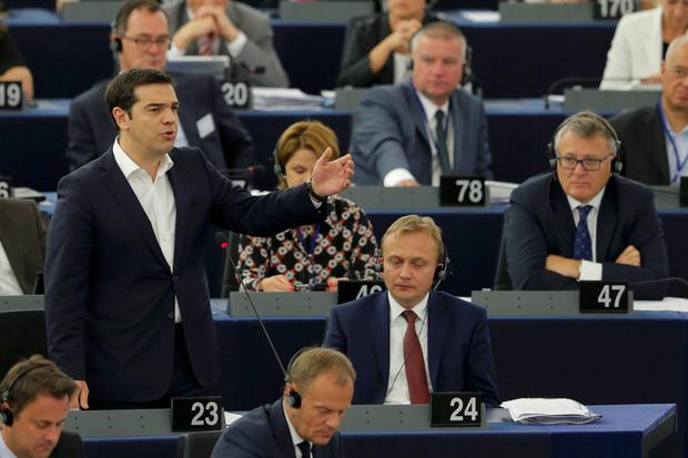 Greek Prime Minister Alexis Tsipras addresses the European Parliament in Strasbourg, France, July 8, 2015. Euro zone members have given Greece until the end of the week to come up with a proposal for sweeping reforms in return for loans that will keep the country from crashing out of Europe's currency bloc and into economic ruin. REUTERS/Vincent Kessler