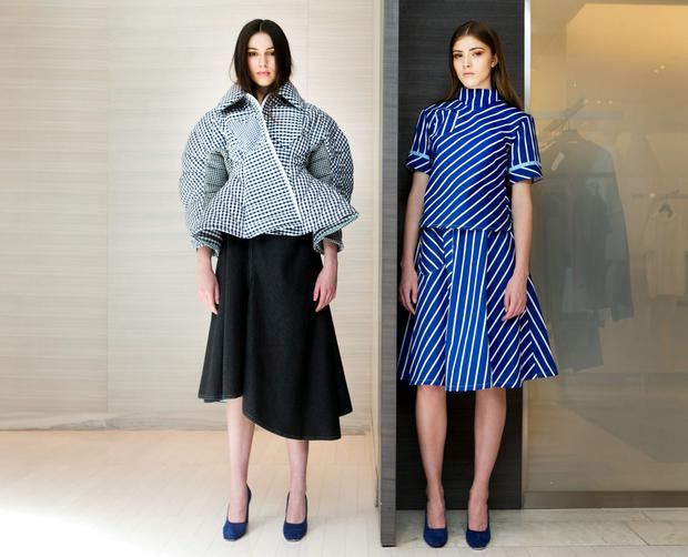 Louise Byrne wears Richard Malone Coat 1,850.euro Dress 1,175.00 euro and Avice Maughan wears Richard Malone Top 465.00,euro Skirt 495.00,euro.