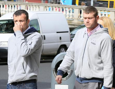 L-R: Martin and John Gerard Corcoran originally from Galway but living in a London Halting site pictured leaving the Four Courts following a Civil Court action.Pic: Collins Courts