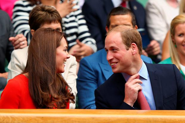 LONDON, ENGLAND - JULY 08: Catherine, Duchess of Cambridge and Prince William, Duke of Cambridge attend day nine of the Wimbledon Lawn Tennis Championships at the All England Lawn Tennis and Croquet Club on July 8, 2015 in London, England. (Photo by Ian Walton/Getty Images)