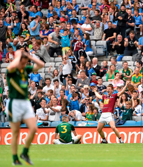 Westmeath's John Heslin celebrates scoring his side's third goal against Meath