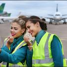 Last-minute touching up: Sorcha O'Rourke from Swords and Lydia Worrell from Malahide await the new Airbus A350