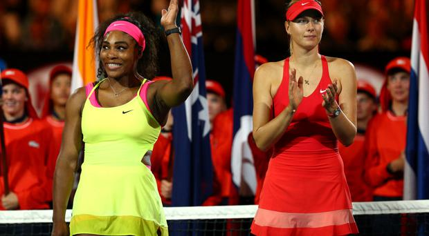 Serena Williams acknowledges the crowd after beating Maria Sharapova in the Australian Open final earlier this year. The pair meet again in today's semi-finals at Wimbledon