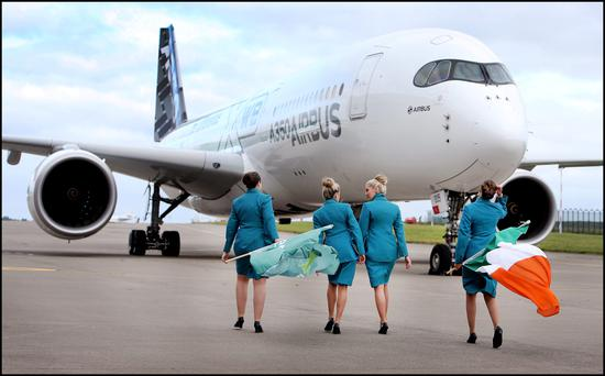 Greeting the arrival of the Airbus A350 XWB were Aer Lingus Crew (from left) Fiona Tracey from Portlaoise, Sorcha O'Rourke from Swords, Grainne Kelly from Skerries, and Lydia Worrell from Malahide.