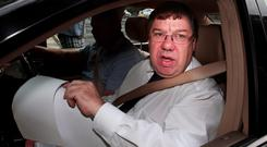 Former Taoiseach Brian Cowen arriving for the Oireachtas Banking Inquiry at Leinster House yesterday