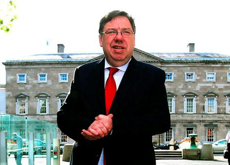 Former Taoiseach Brian Cowen arrives at Leinster House, Dublin, to give evidence at the Oireachtas banking inquiry