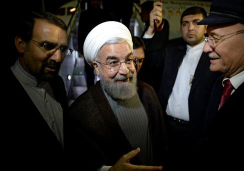 Iran's President Hassan Rouhani (C) attends a welcoming ceremony upon his arrival in Ufa, Russia. Photo: Reuters