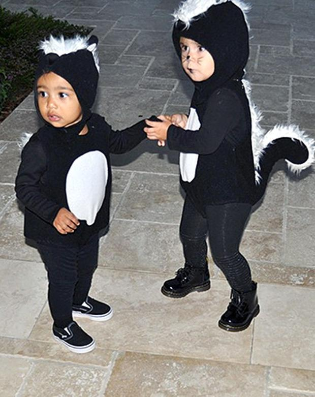 North West and Penelope Disick at Halloween