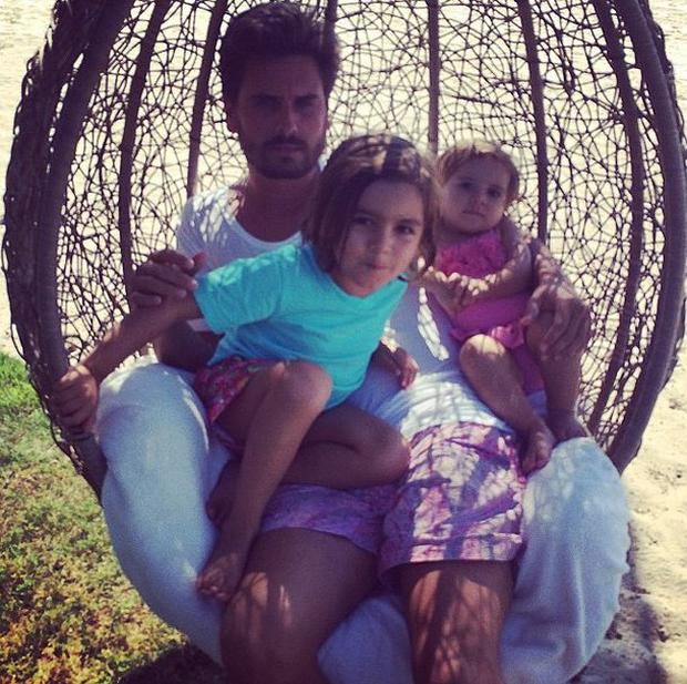 Scott Disick with Mason and Penelope
