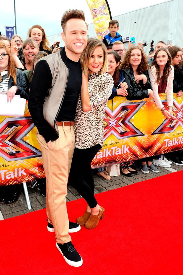 Caroline Flack and Olly Murs attend the first auditions for The X Factor 2015 on July 8, 2015 at Event City in Manchester, England.