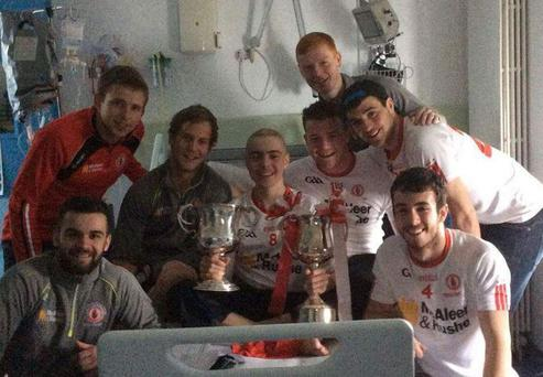 Brendan with members of the Tyrone team Pic: @GAAHits/Twitter