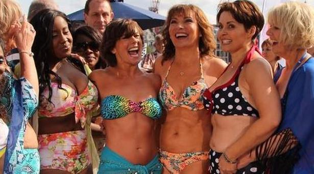 Lorraine Kelly with her guests during the live dancing segment for the 'Bikini Promise' campaign Pic: ITV
