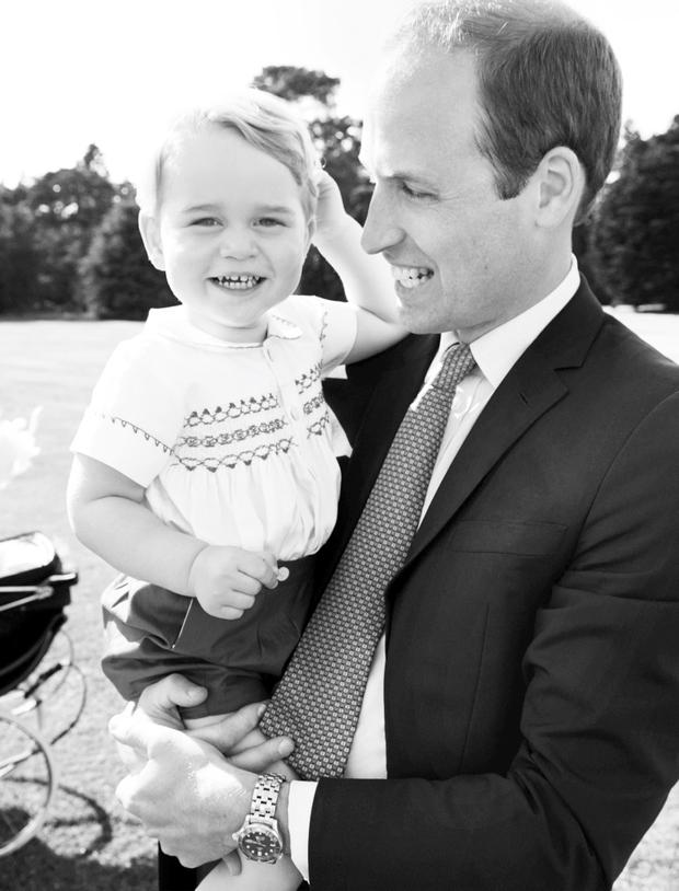 The Duke of Cambridge and his son, Prince George, after the christening of Princess Charlotte of Cambridge at Sandringham on Sunday Photo: Mario Testino / Art Partner