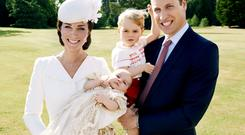 The Duke and Duchess of Cambridge and their children, Prince George and Princess Charlotte who was christened at Sandringham on Sunday. Credit: Mario Testino / Art Partner