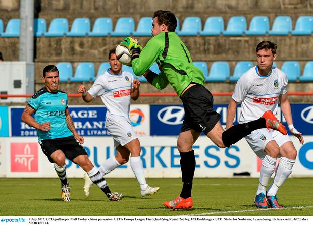 UCD goalkeeper Niall Corbet claims possession