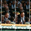 This sequence shows David Beckham catching the ball and throwing it back Source: Wimbledon Twitter