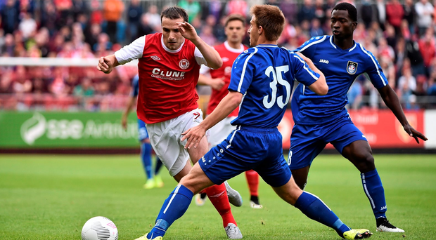 Christy Fagan of St Patrick's Athletic in action against Skonto's Vladislavs Sorokins