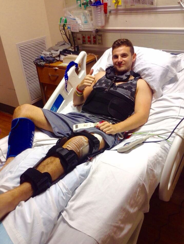 Jack Halpin pictured in his hospital bed in California