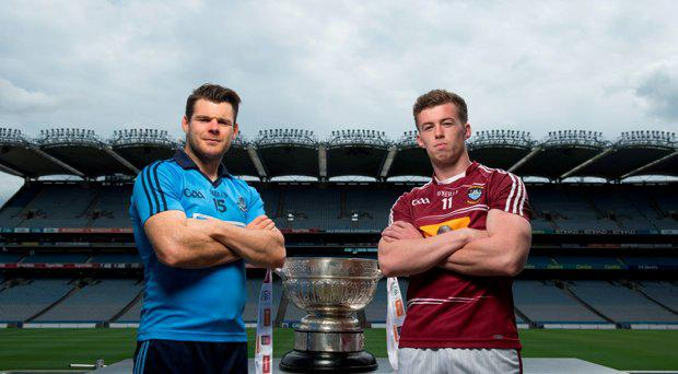 6 July 2015; Ger Egan, right, Westmeath, and Kevin McManamon, Dublin, with the Delaney cup, at the GAA Leinster Football Final Preview. Croke Park, Dublin. Picture credit: D?ire Brennan / SPORTSFILE