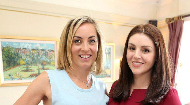 Kathryn Thomas and Sile Seoige at the launch of Elave skincare's newly rebranded Dermo-Renew range
