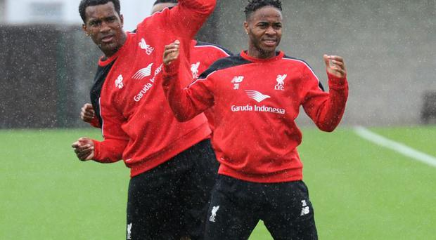 Raheem Sterling training with Liverpool