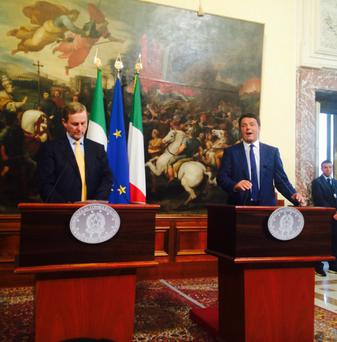 Enda Kenny with Italian leader Matteo Renzi