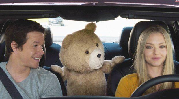 Mark Wahlberg, Ted and Amanda Seyfried in Ted 2