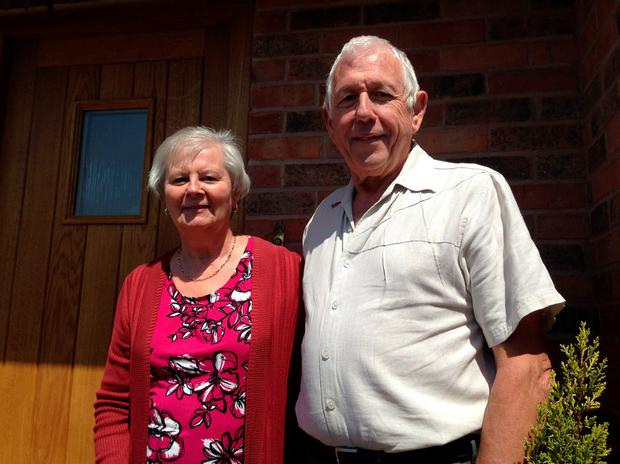 Janet and Harold Perry outside their home in Sutton Coldfield