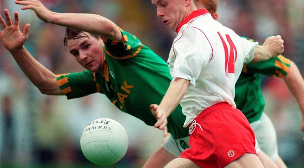 Peter Canavan and Darren Fay in action during the All-Ireland SFC semi-final of 1996 SPORTSFILE