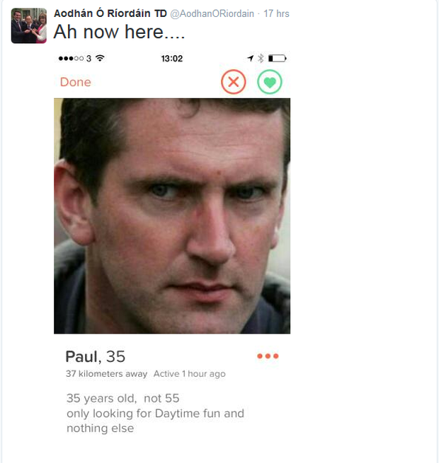 Fake Tinder profile which used picture of Minister O'Riordain