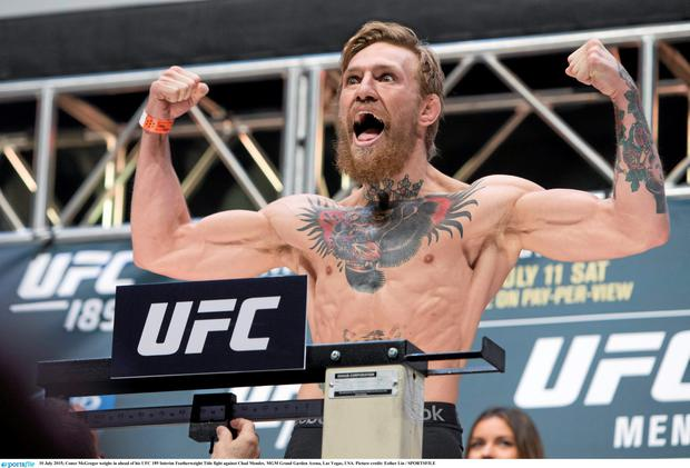 10 July 2015; Conor McGregor weighs in ahead of his UFC 189 Interim Featherweight Title fight against Chad Mendes. MGM Grand Garden Arena, Las Vegas, USA. Picture credit: Esther Lin / SPORTSFILE