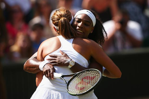 LONDON, ENGLAND - JULY 11: Serena Williams of the United States celebrates after winning the Final Of The Ladies' Singles against Garbine Muguruza of Spain during day twelve of the Wimbledon Lawn Tennis Championships at the All England Lawn Tennis and Croquet Club on July 11, 2015 in London, England. (Photo by Clive Brunskill/Getty Images)