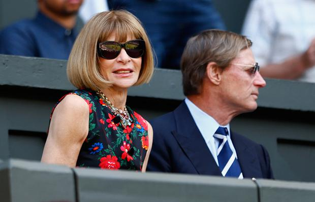 LONDON, ENGLAND - JULY 11: Anna Wintour attends day twelve of the Wimbledon Lawn Tennis Championships at the All England Lawn Tennis and Croquet Club on July 11, 2015 in London, England. (Photo by Julian Finney/Getty Images)