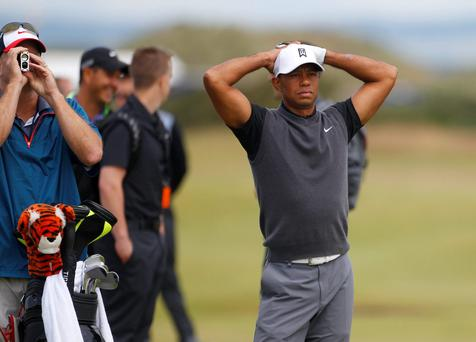 Tiger Woods on the 17th hole at St Andrews today