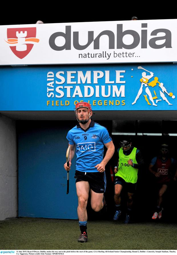 11 July 2015; Ryan O'Dwyer, Dublin, makes his way out to the pitch before the start of the game. GAA Hurling All-Ireland Senior Championship, Round 2, Dublin v Limerick, Semple Stadium, Thurles, Co. Tipperary. Picture credit: E?in Noonan / SPORTSFILE