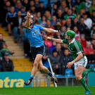 Dublin's Mark Schutte attempts to gather possession under pressure from Limerick's Seanie O'Brien during yesterday's All-Ireland SHC Qualifier in Semple Stadium.