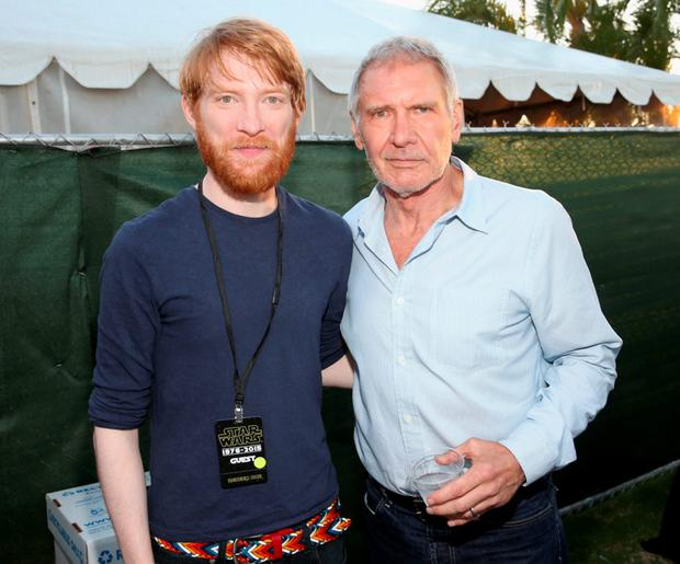 The force returns: Actors Domhnall Gleeson (left), and Harrison Ford at a Star Wars fan concert last Friday as part of the 2015 Comic-Con International at the San Diego Convention Center