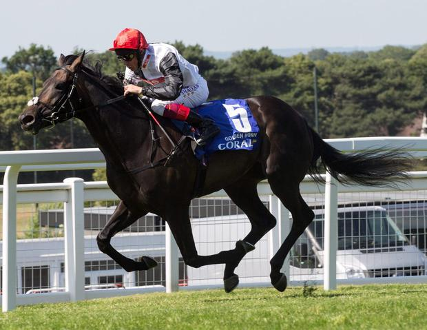 Golden Horn and Frankie Dettori winning the Eclipse Stakes