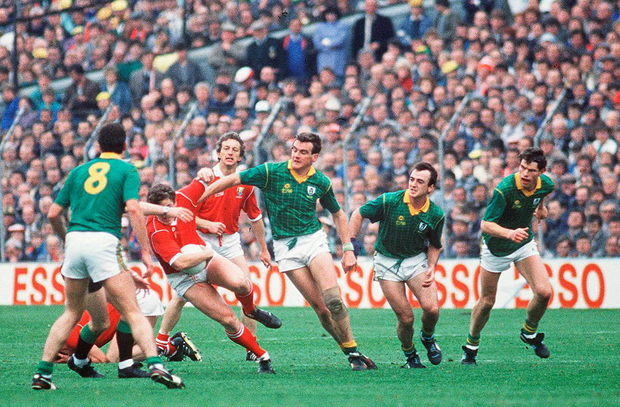 Cork's Barry Coffey is confronted by Meath's much-admired physical presence in the shape of Liam Hayes, Colm O'Rourke, Colm Coyle and Liam Harnan in 1988.
