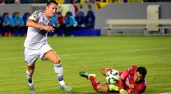 Robbie Keane of the LA Galaxy vies for the ball with 'keeper Hugo Gonzalez of Club America on July 11, 2015 during their 2015 International Champions Cup match in Carson, California. AFP PHOTO / FREDERIC J. BROWNFREDERIC J. BROWN/AFP/Getty Images