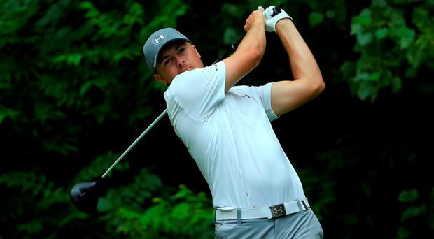 Jordan Spieth tees off on the second hole during the third round of the John Deere Classic held at TPC Deere Run on July 11, 2015 in Silvis, Illinois. (Photo by Michael Cohen/Getty Images)