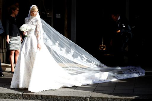 Nicky Hilton seen leaving Claridge's Hotel on her wedding day on July 10, 2015 in London, England. Photo by Neil Mockford/Alex Huckle/GC Images)