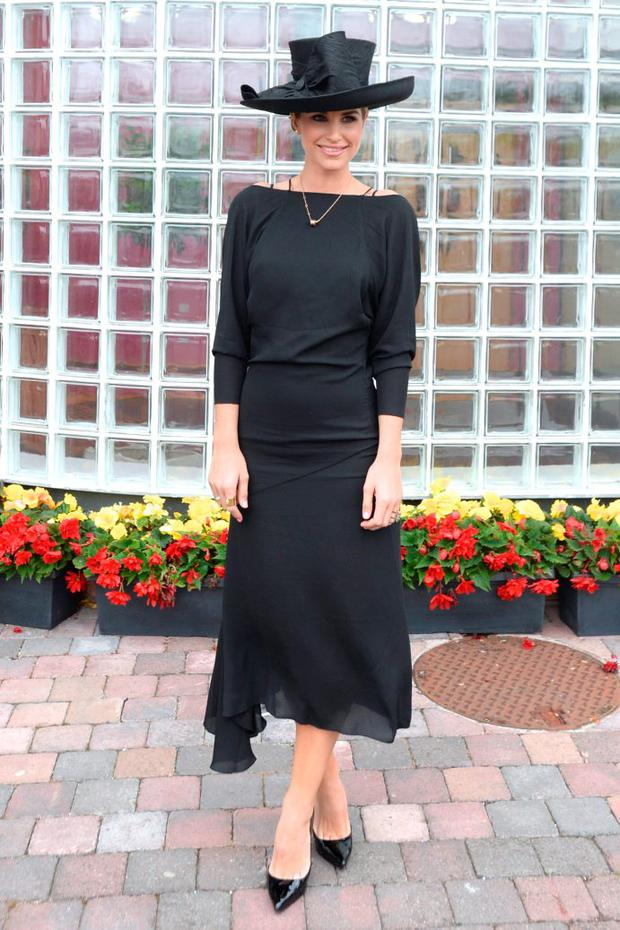 Vogue Williams pictured today at the Dundalk races where she was judging Ladies day. Pic: Justin Farrelly.