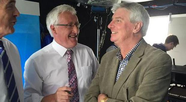 Michael Lyster chats with Pat Spillane and Colm O'Rourke ahead of the Munster hurling final
