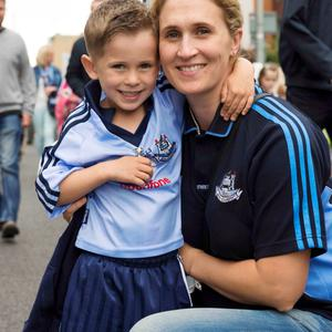 12/07/2015. Pictured are (LtoR) Sean, 5 and Alison Murphy after Dublin beat Westmeath in the Leinster football final at Croke Park. Photo: El Keegan