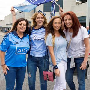 12/07/2015. Pictured are (LtoR) friends and sisters from Cabra, Lisa Coady, Louise Walsh, Rachel Whelan, and Lauren Whelan after Dublin beat Westmeath in the Leinster football final at Croke Park. Photo: El Keegan